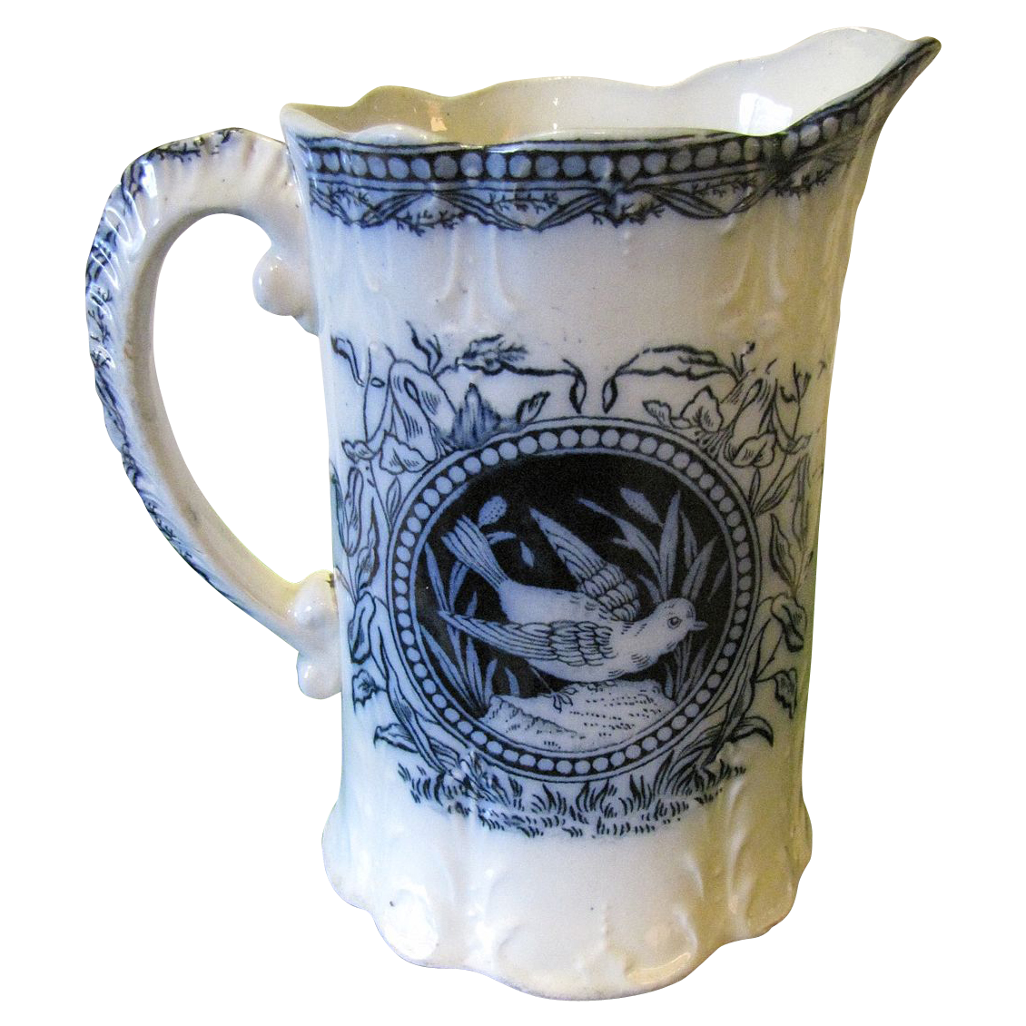 Gorgeous Antique Flow Blue Milk Pitcher SPRING R. Cochran & Co.