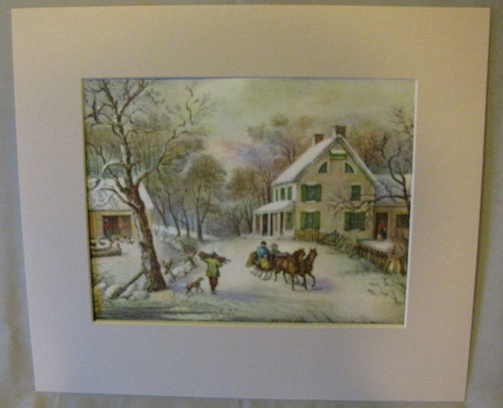 Vintage Matted Currier & Ives Print, American Homestead Winter