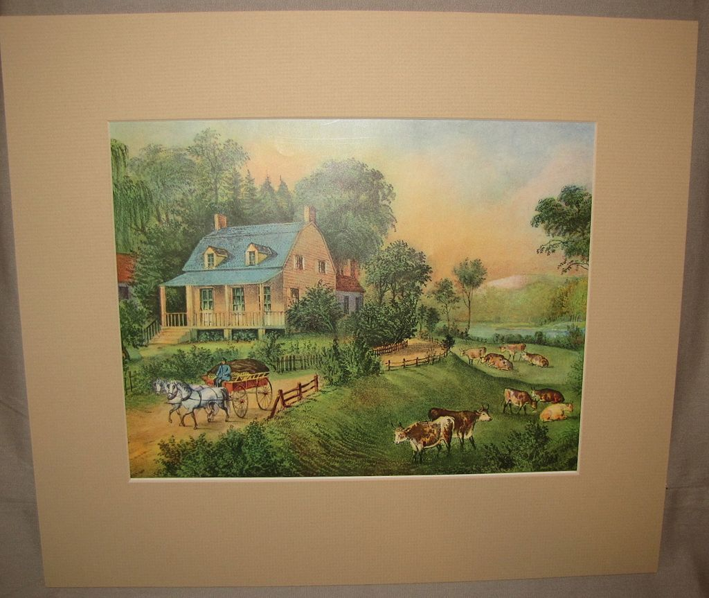 Vintage Matted Currier & Ives Print, American Homestead Summer