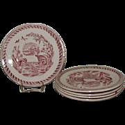 Antique Red Transferware Child's Tea Plate, WATER HEN
