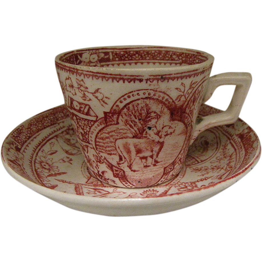 Child's Red Transferware Cup & Saucer Set Girl w/ Big Dog