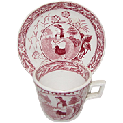 Red Transferware Cup & Saucer, May w/Apron, Allertons