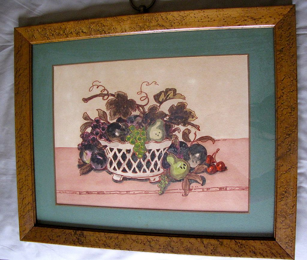 Lovely Vintage Still Life Print, Bird's Eye Maple Frame
