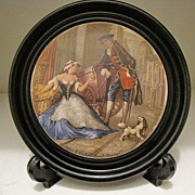 Highly Collectible Prattware Framed Pot Lid, Cries of London