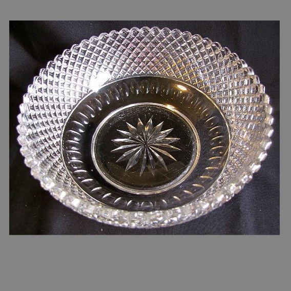 Stunning Glass Fruit Bowl, English Hobnail, Thumbprint, Star