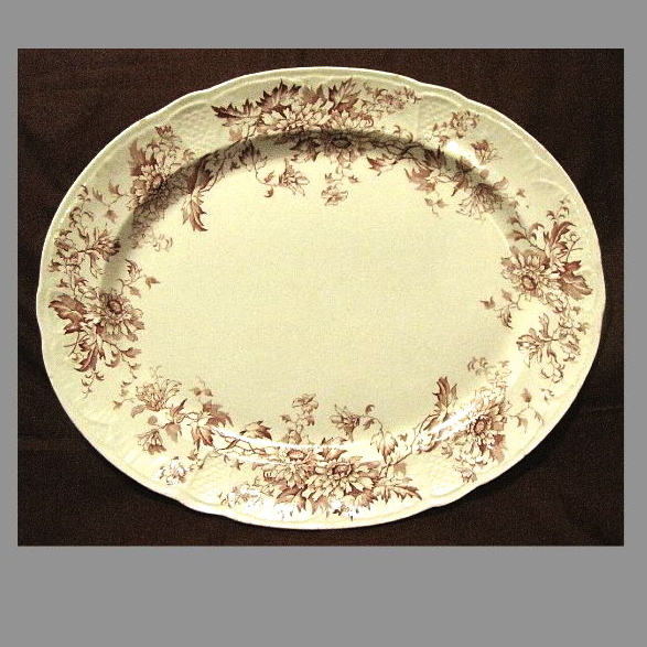 Lovely Red Transferware Platter, ASTER, K & Co.