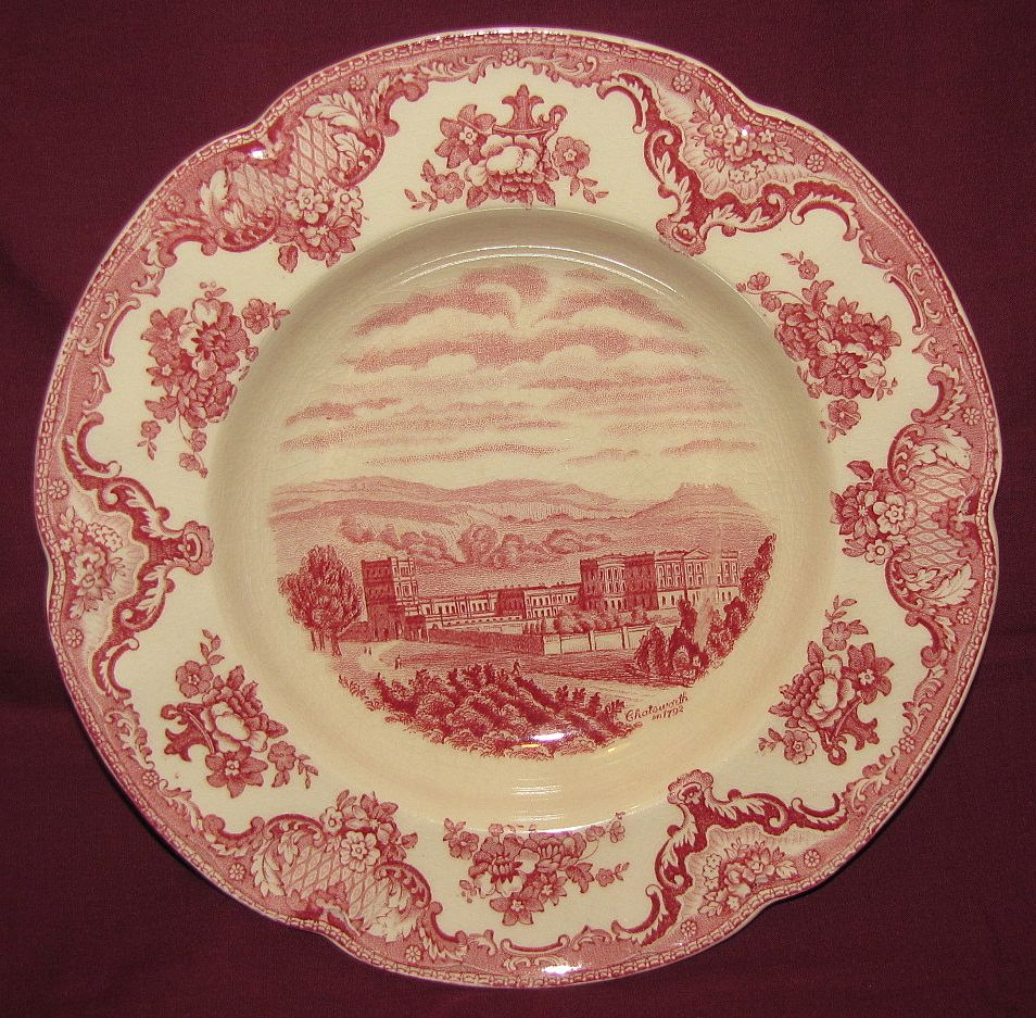 Lovely Red Transferware Soup Plate, Old Britain Castles, Johnson Bros.