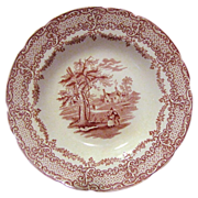 Red Transferware Soup Plate, Humphrey's Clock, Ridgways