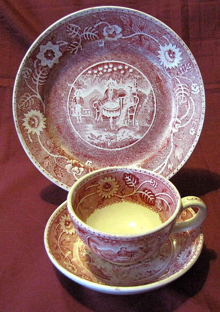 red transfer printed trio cup saucer w plate royal. Black Bedroom Furniture Sets. Home Design Ideas