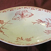 Lovely Oval Red Transferware Dish, U & C France, CARMEN