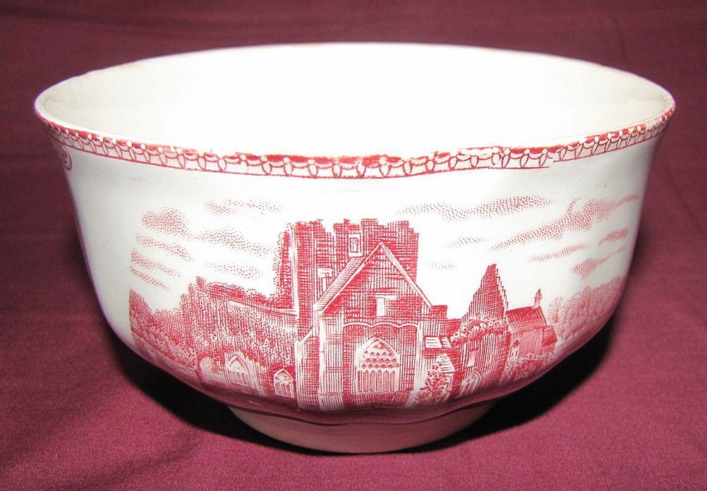 "Red Transferware Finger Bowl, ""Old Britain Castles"", Johnson Bros."