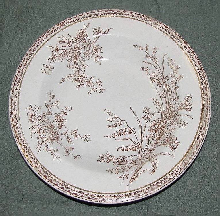 Lovely Brown Transferware Soup Plate, SEVILLE, E.M. & Co. 1871-99