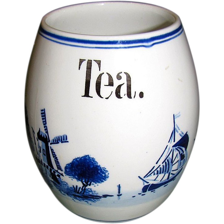"""1920""""s Delft Blue & White Barrel Shaped Tea Canister, Germany"""