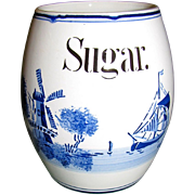 """1920""""s Delft Blue & White Barrel Shaped Sugar Canister, Germany"""