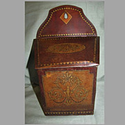 Lovely Faux Wood Grain British Chocolate Tin Salt Box