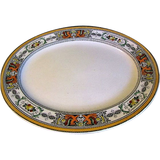 Huge Polychrome Enameled Ironstone Platter, Early 19th C., England