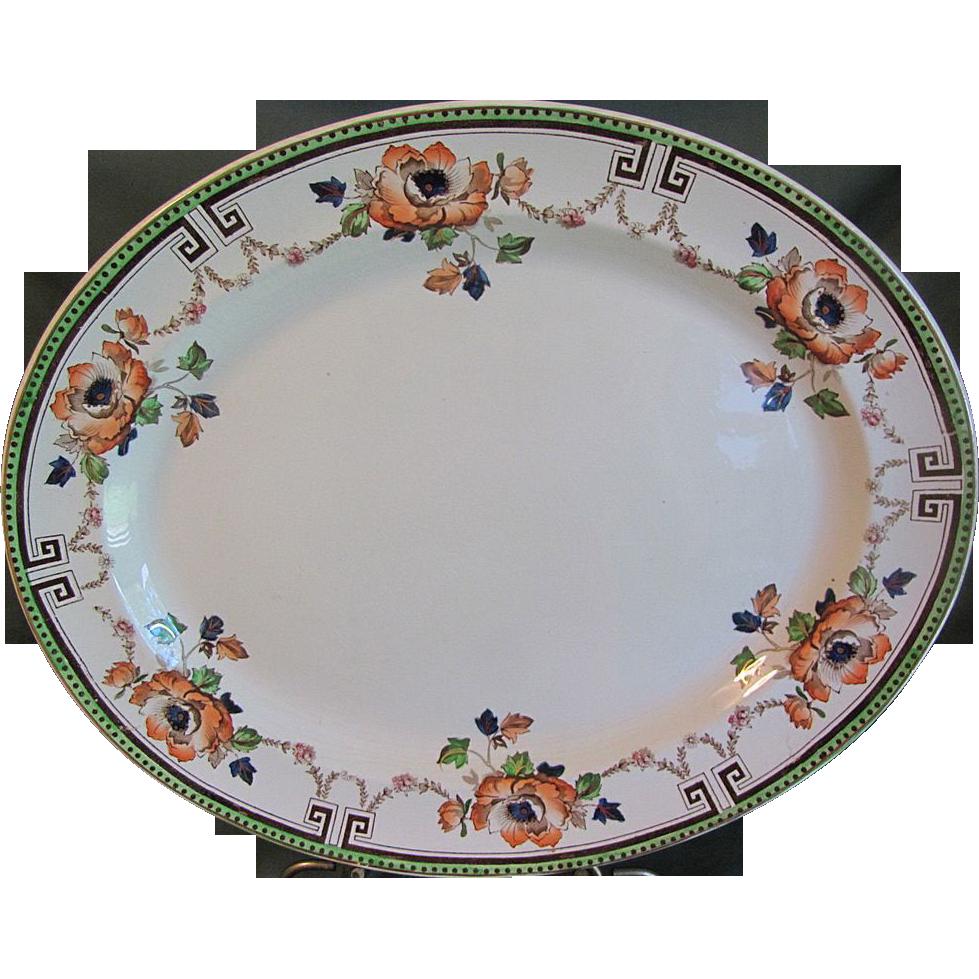 Large Antique Platter, Enameled/Transferware, Ridgways, ALBERTA