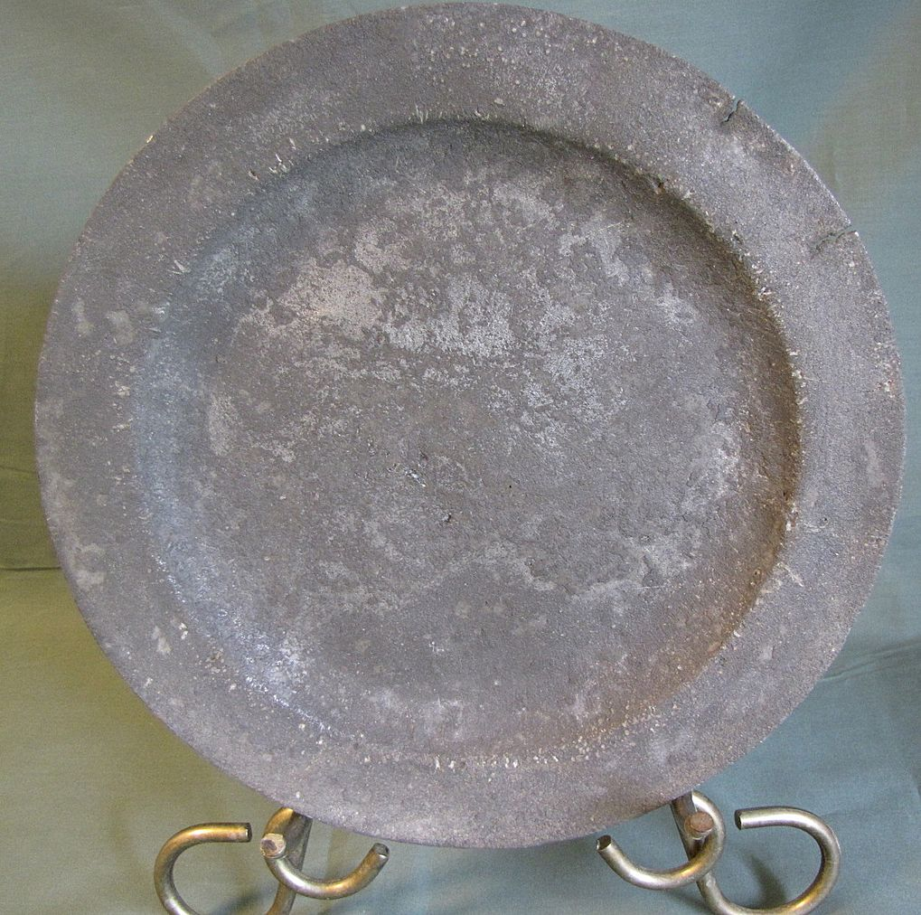 Antique Pewter Plates : Antique pewter plate british unreadable marks from
