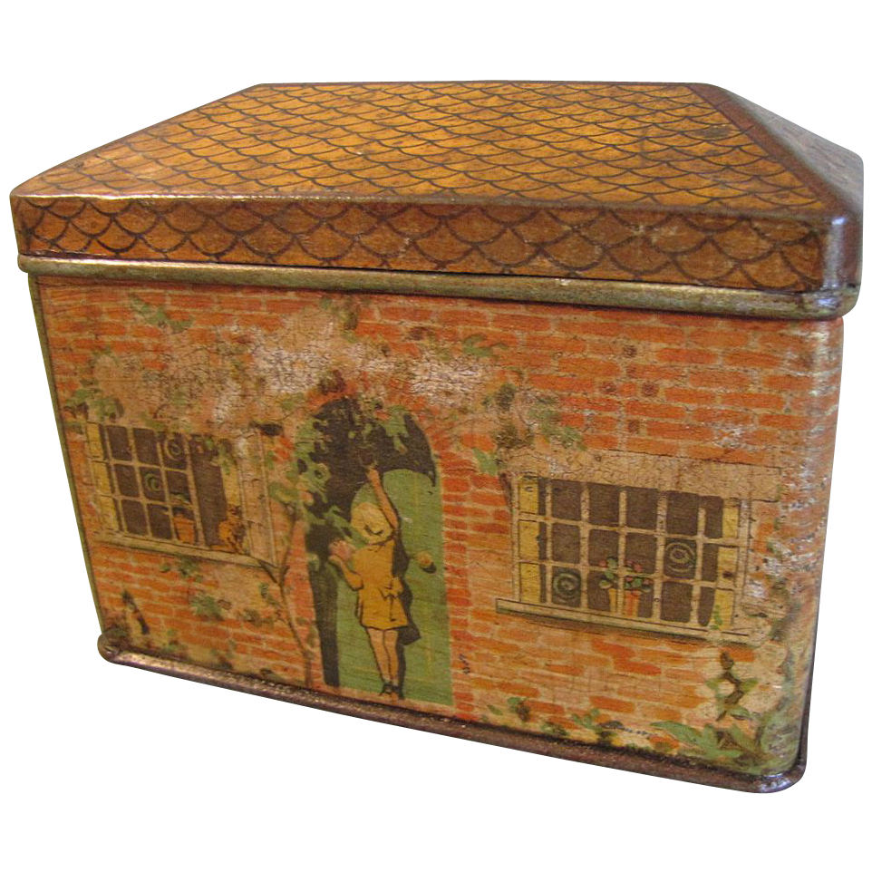 Great Juvenile Biscuit Tin, Brick House, 19th Century