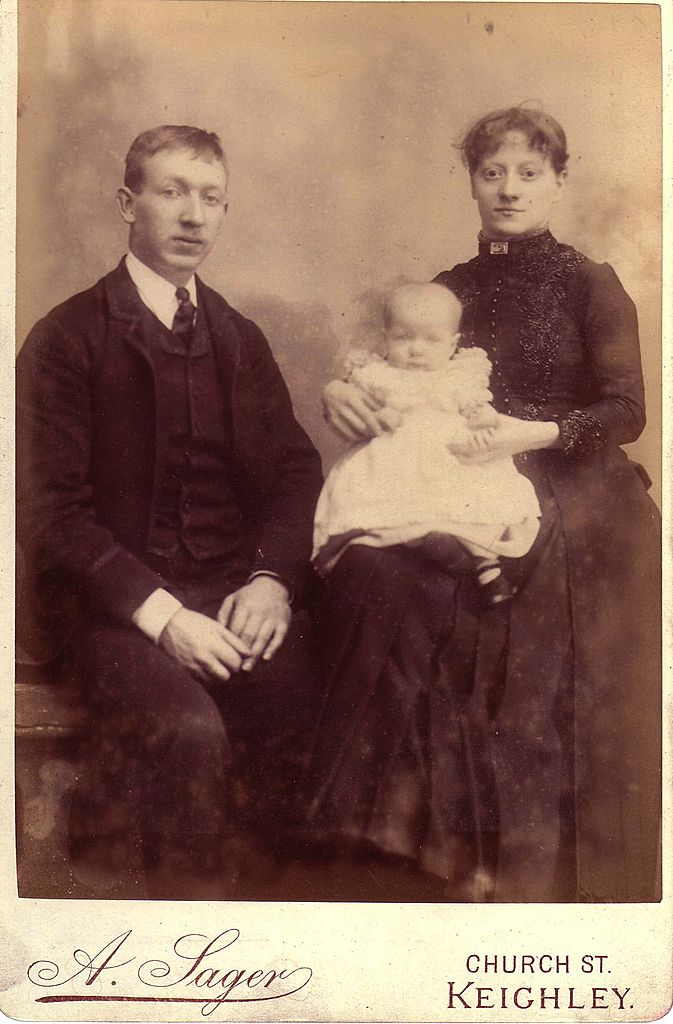 Cabinet Photograph, Family, Young Couple w/Baby, English