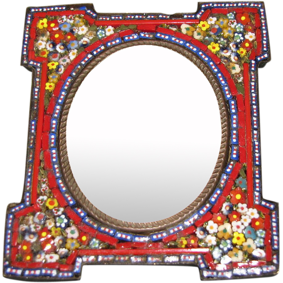 Antique Micro Mosaic Table Top Photograph Frame Made In