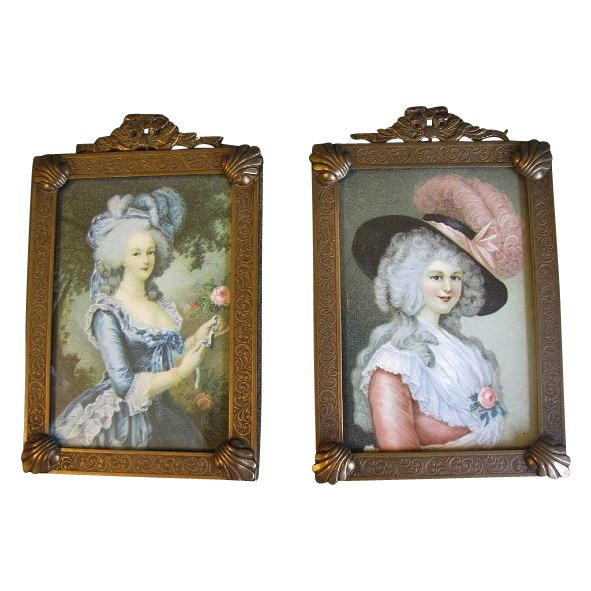 Pair of Vintage Brass Photograph Frames, French Ribbon, Shell Motif