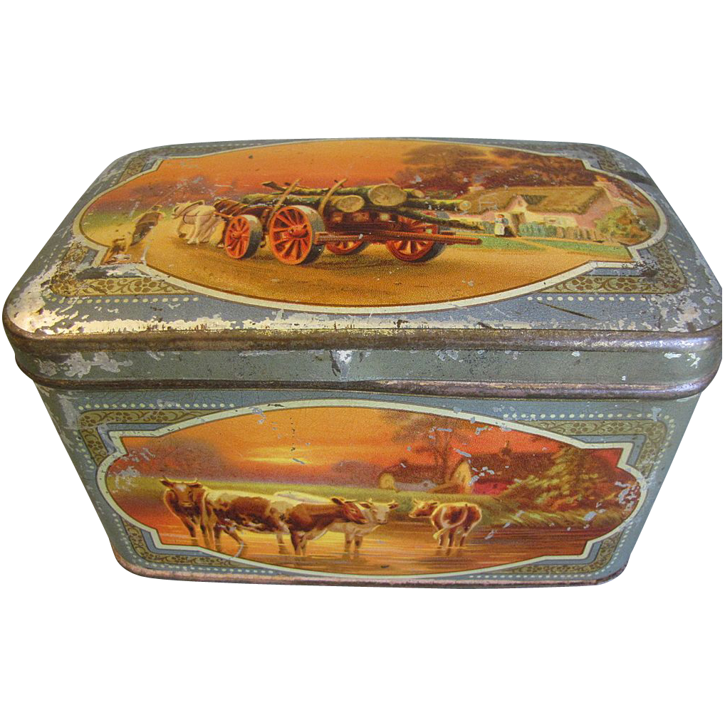 1930's Lithographed Tin, GRIPS' First-Aid Pastilles, Cows