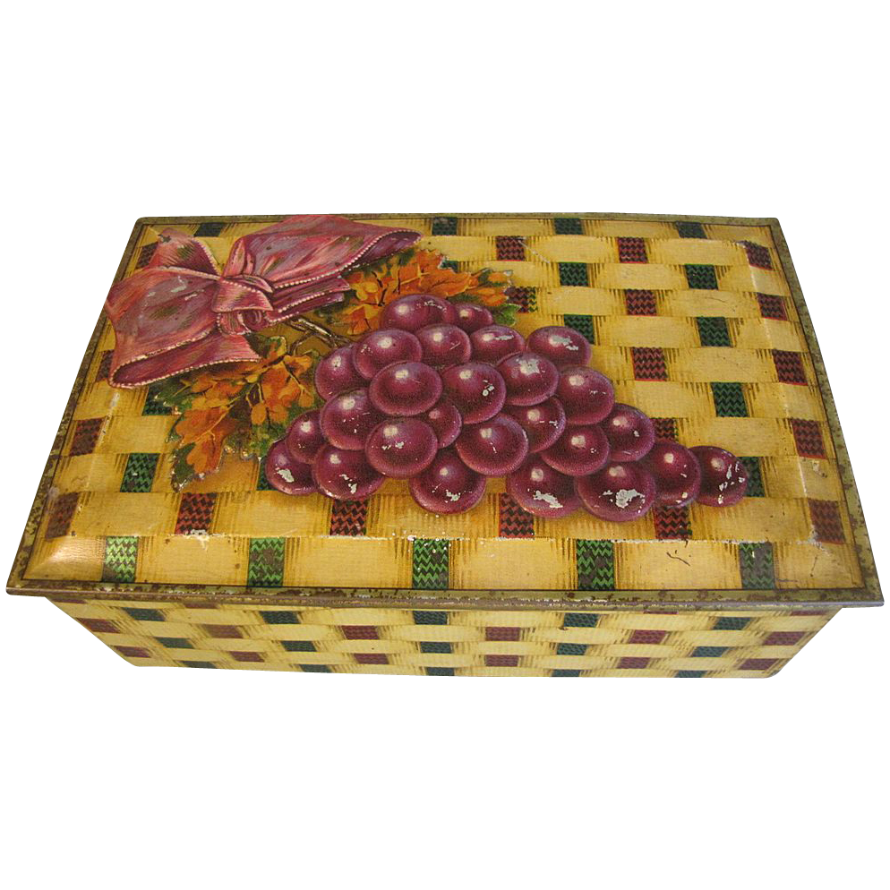 Vintage British Biscuit Tin Box, DESSERT CASKET, W. & R. Jacob & Co. , c. 1933