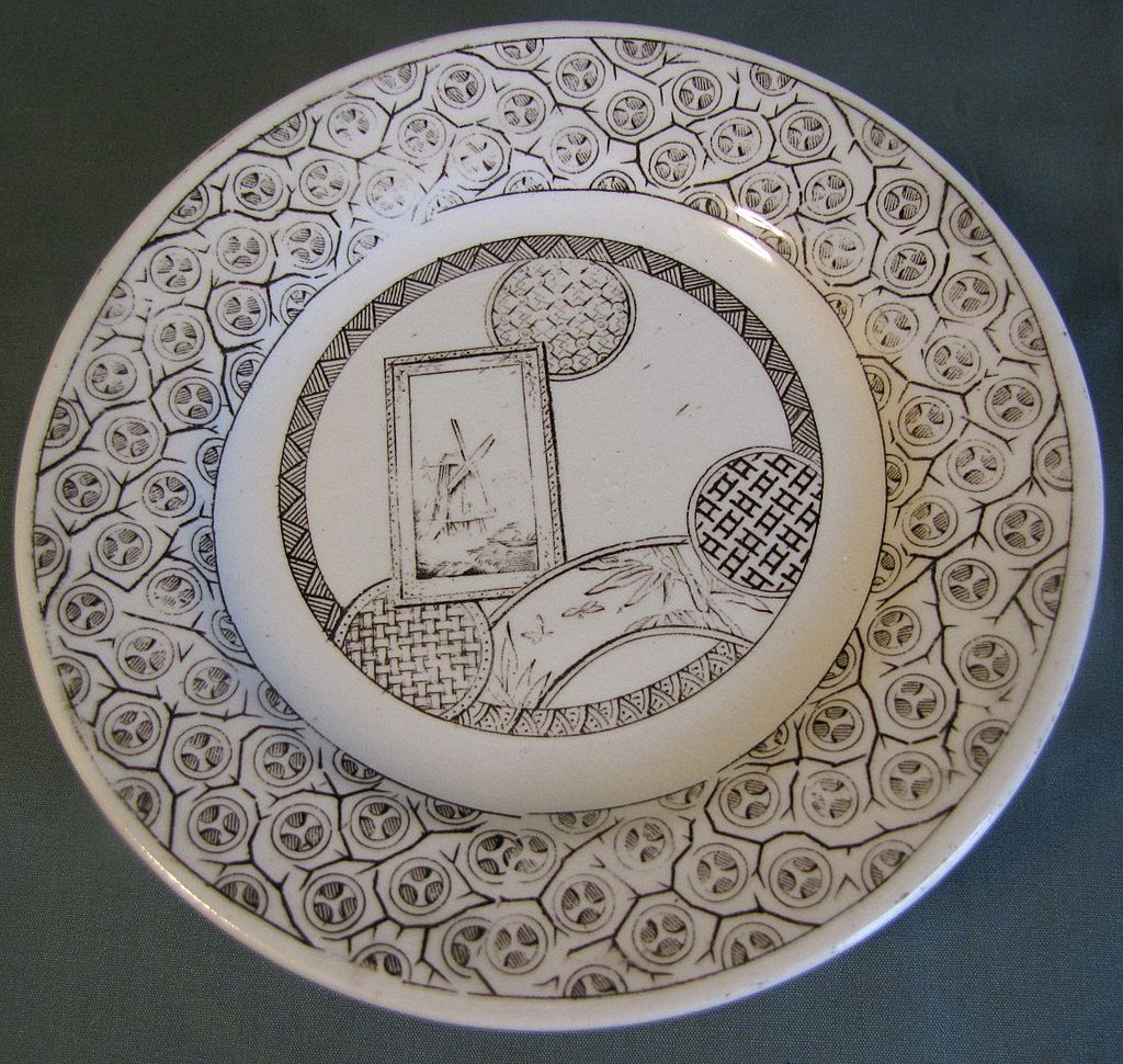 Aesthetic Brown Transferware Child's Tea Plate, AVONA, CA 1881