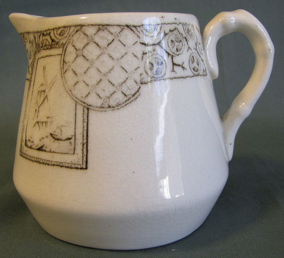 Lovely Brown Transferware Child's Creamer AVONA ca 1881 H.S.&H
