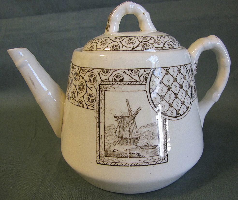 Lovely Brown Transferware Child's Teapot AVONA ca 1881 H.S.&H