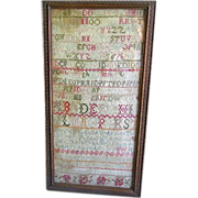 Early 19th Century Needlework Sampler, Alphabet, Proverbs
