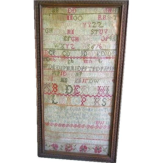 Early 19th Century Needlework Sampler, Alphabet, Proverbs