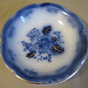 Lovely Flow Blue Butter Pat, ROSEVILLE, John Maddocks, c. 1891
