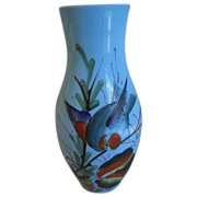Vintage Blue Bristol Vase with Painted Birds and Flowers