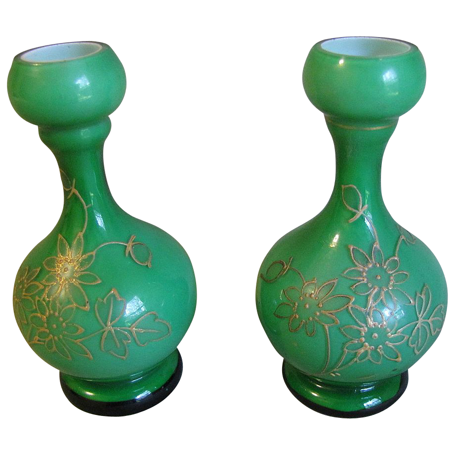 Lovely Pair of Small Glass Bud Vases, Green Cased w/ Gilded Decoration