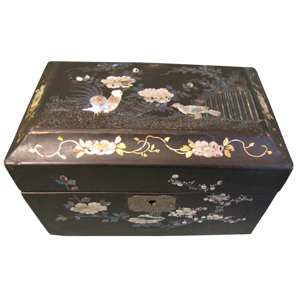 lovely papier mache black lacquer tea caddy mop birds flowers from tomjudy on ruby lane. Black Bedroom Furniture Sets. Home Design Ideas
