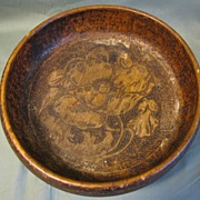 Lovely Pyrography Nut Bowl, Poppy, Flemish Art