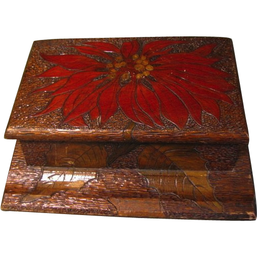 Lovely Pyrography Flemish Art Ink Well Box, Poinsettia