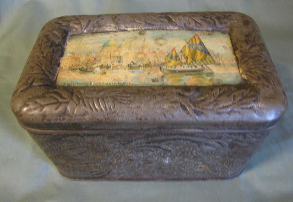 Very Old Biscuit Tin, Embossed Design, Venice Nautical Theme