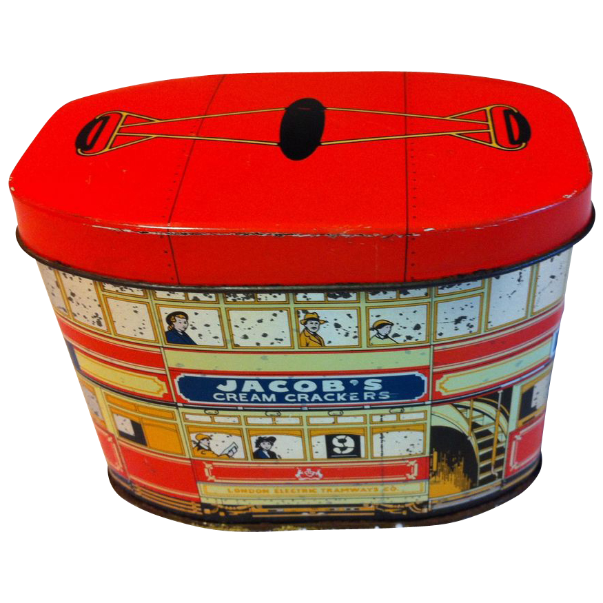 Small But Cute Vintage British Biscuit Tin, Trolley, Huntley Boorne & Stevens