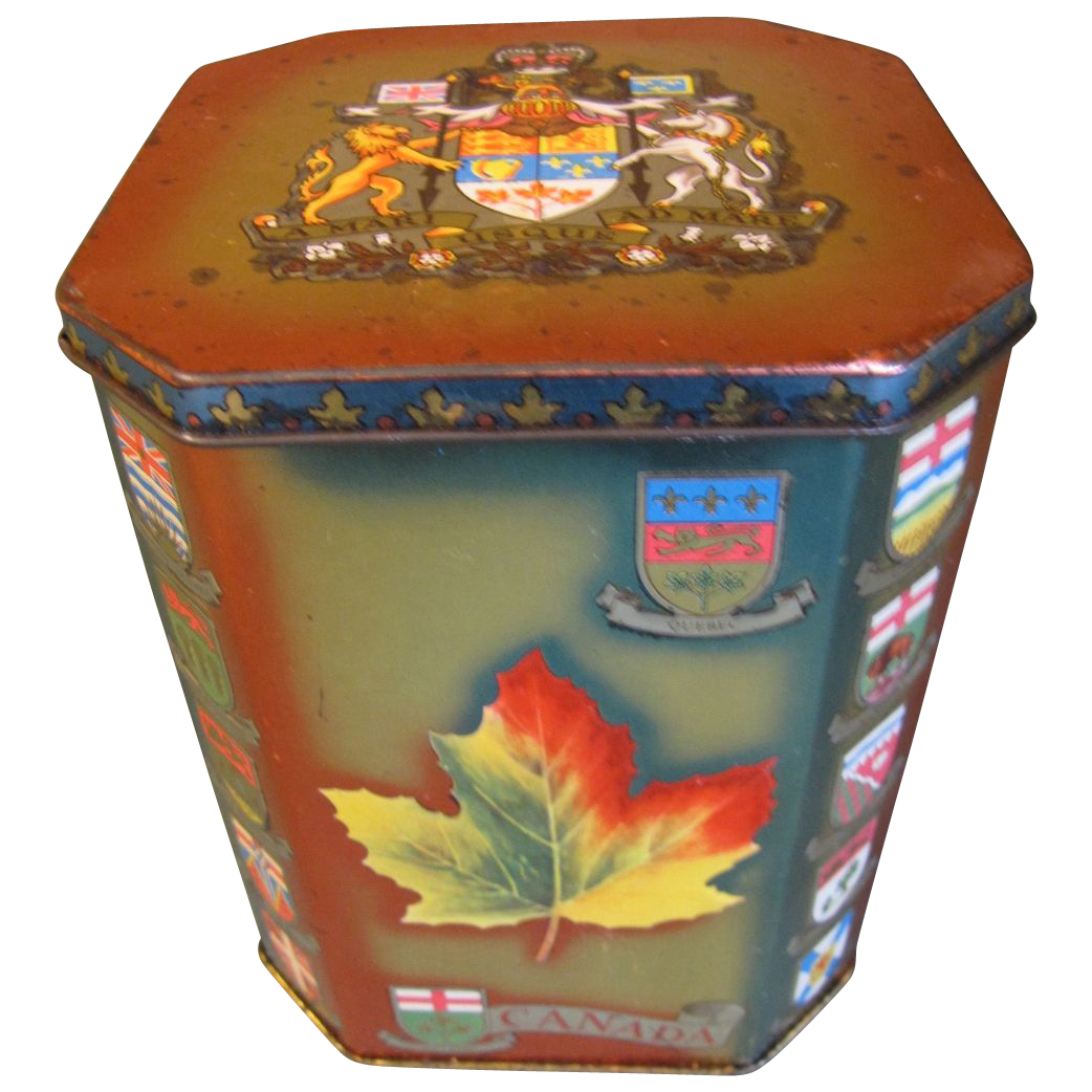 Colorful Vintage Toffee Tin, Canadian Maple Leaf, Riley's