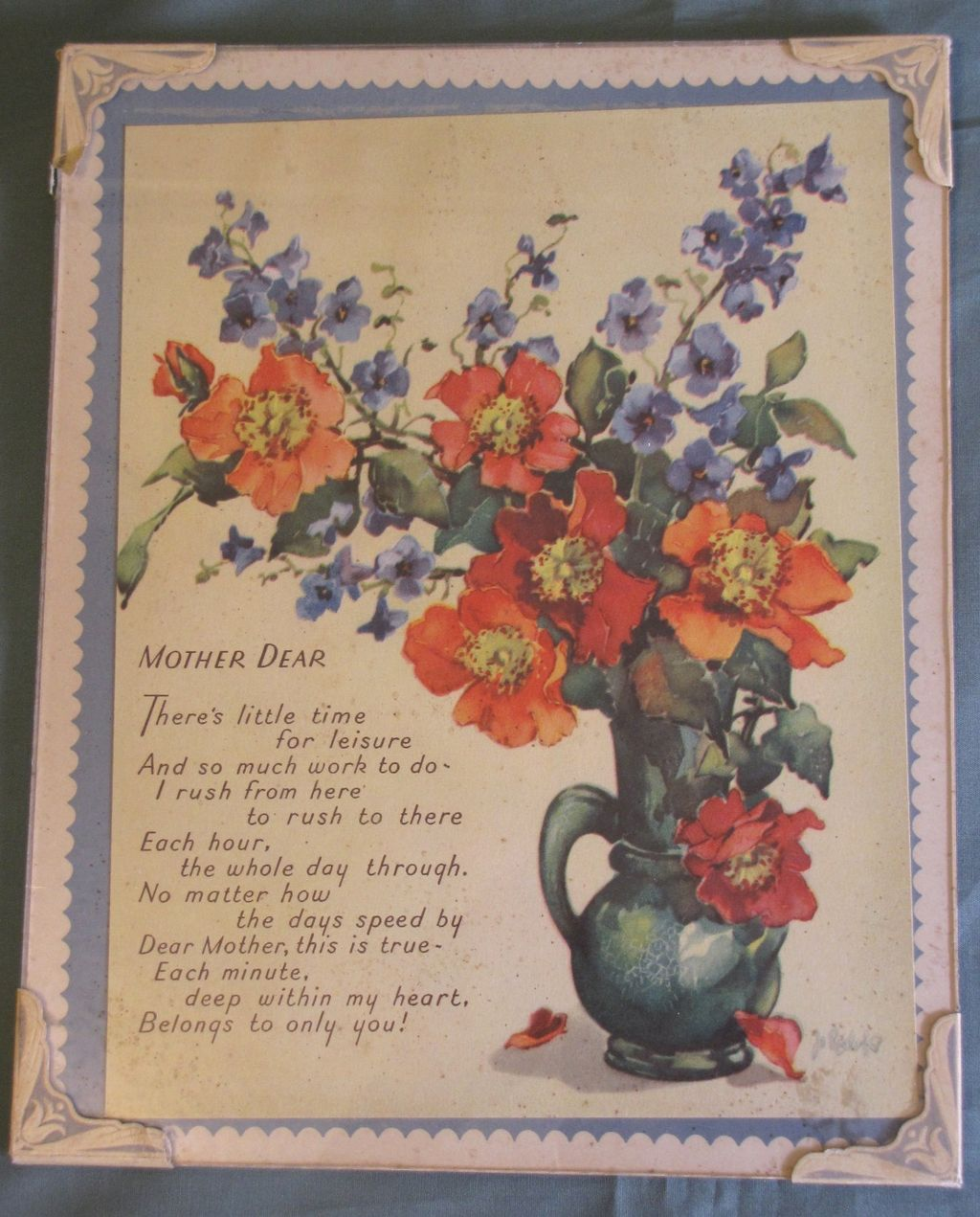 "Vintage Mother Motto, Poppies & Delphiniums ""MOTHER DEAR"""
