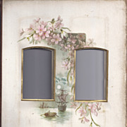 Lovely Chromolithograph Page From Victorian Photo Album, Pink Flowers, 2 CDV
