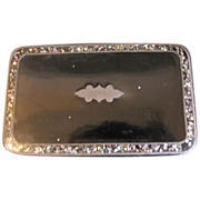 Lovely Larger Than Usual Black Papier Mache Box, Abalone Inlay