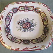 Lovely 19th Century Square Pedestal Cake Plate with Handles, Floral