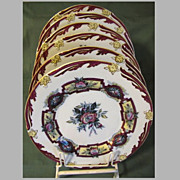 """Lovely 19th Century Set of Six 9"""" Plates, Enameled Floral"""