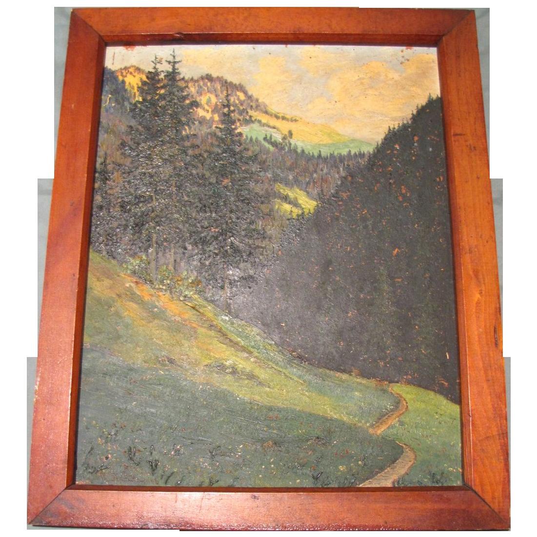 Lovely Oil Painting, LANDSCAPE, Trees, Mountains, Stream, Framed 1946
