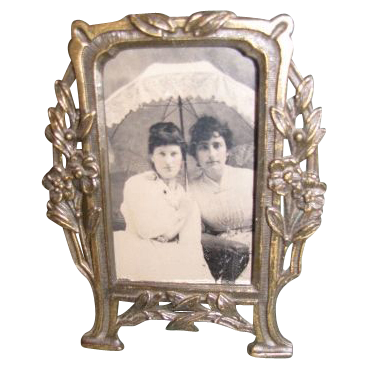 Lovely Art Nouveau Brass Photograph Frame, Table-Top, French