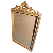 Lovely Antique Brass Frame, Roses, French Ribbon, Convex Glass